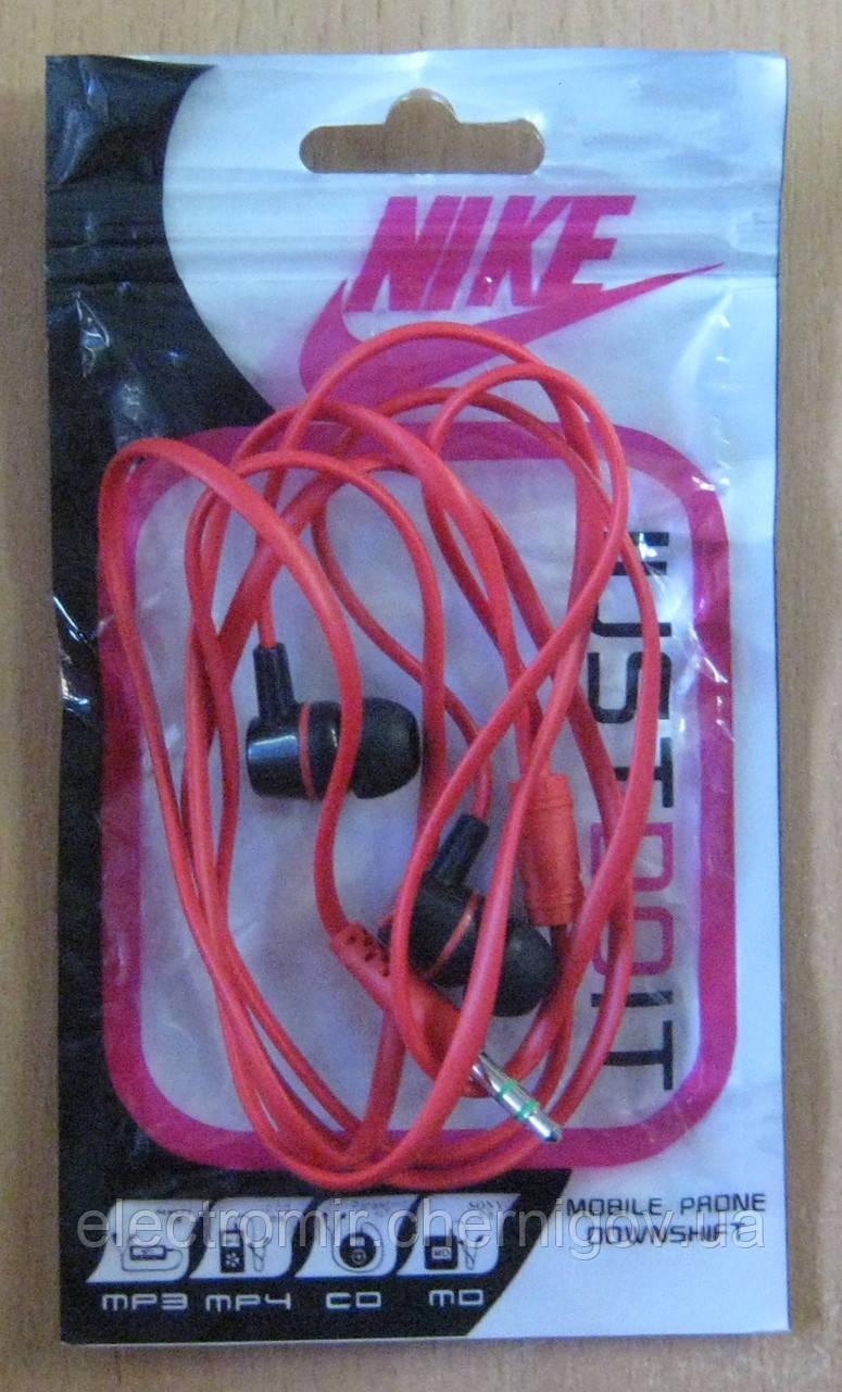 Наушники вакуумные в пакете Nike (красные)