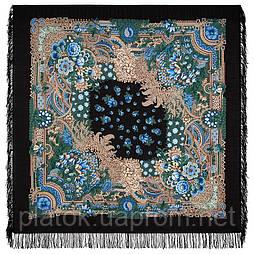 Бархатная ночь 538-30, павлопосадский платок шерстяной  с шерстяной бахромой