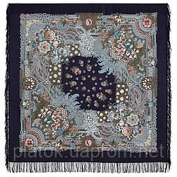 Бархатная ночь 538-14, павлопосадский платок шерстяной  с шерстяной бахромой