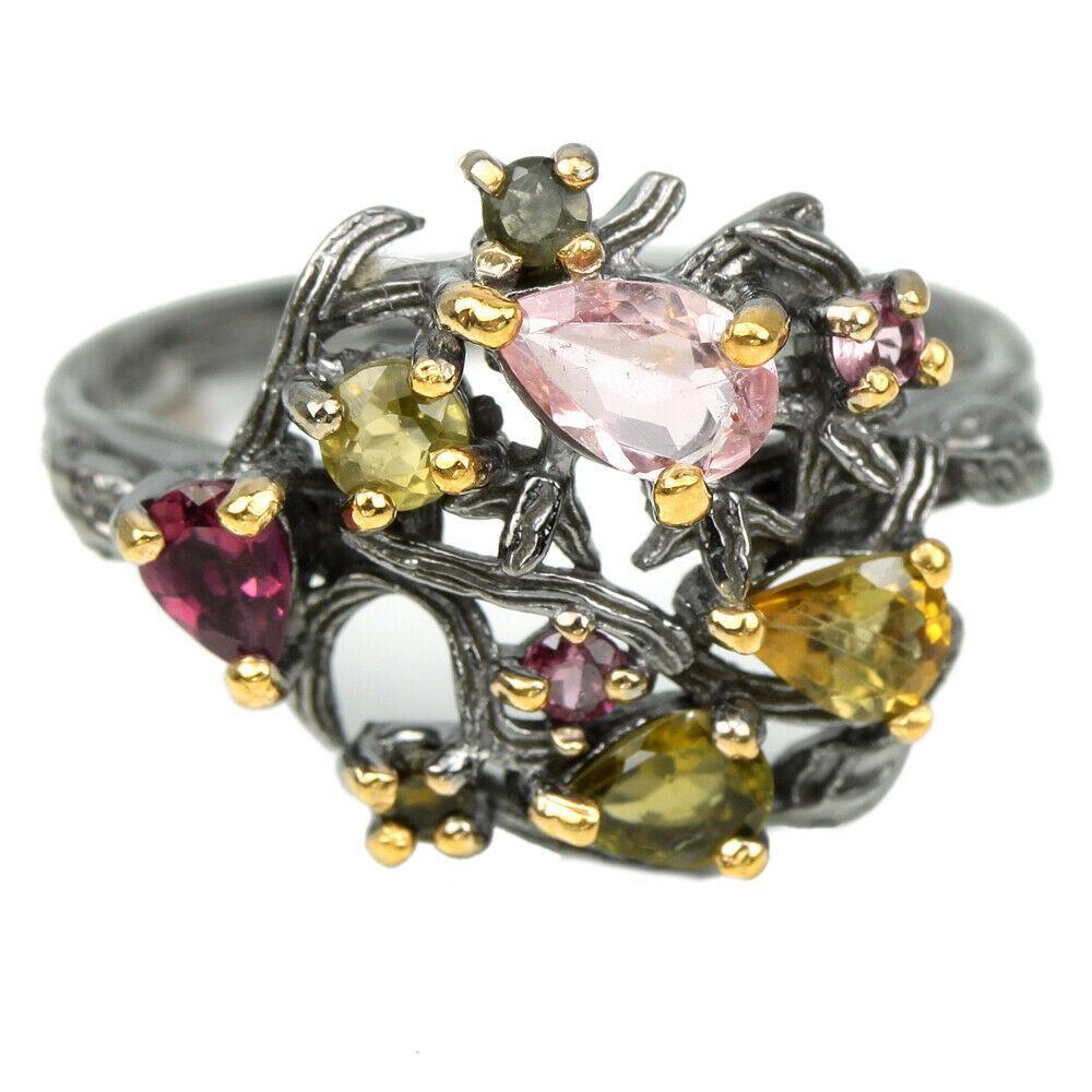Серебряное кольцо с разноцветным турмалином, 2500КЦТ