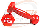 Виниловые гантели для фитнеса GoDo 0.5 кг - 3 кг (поштучно), фото 3