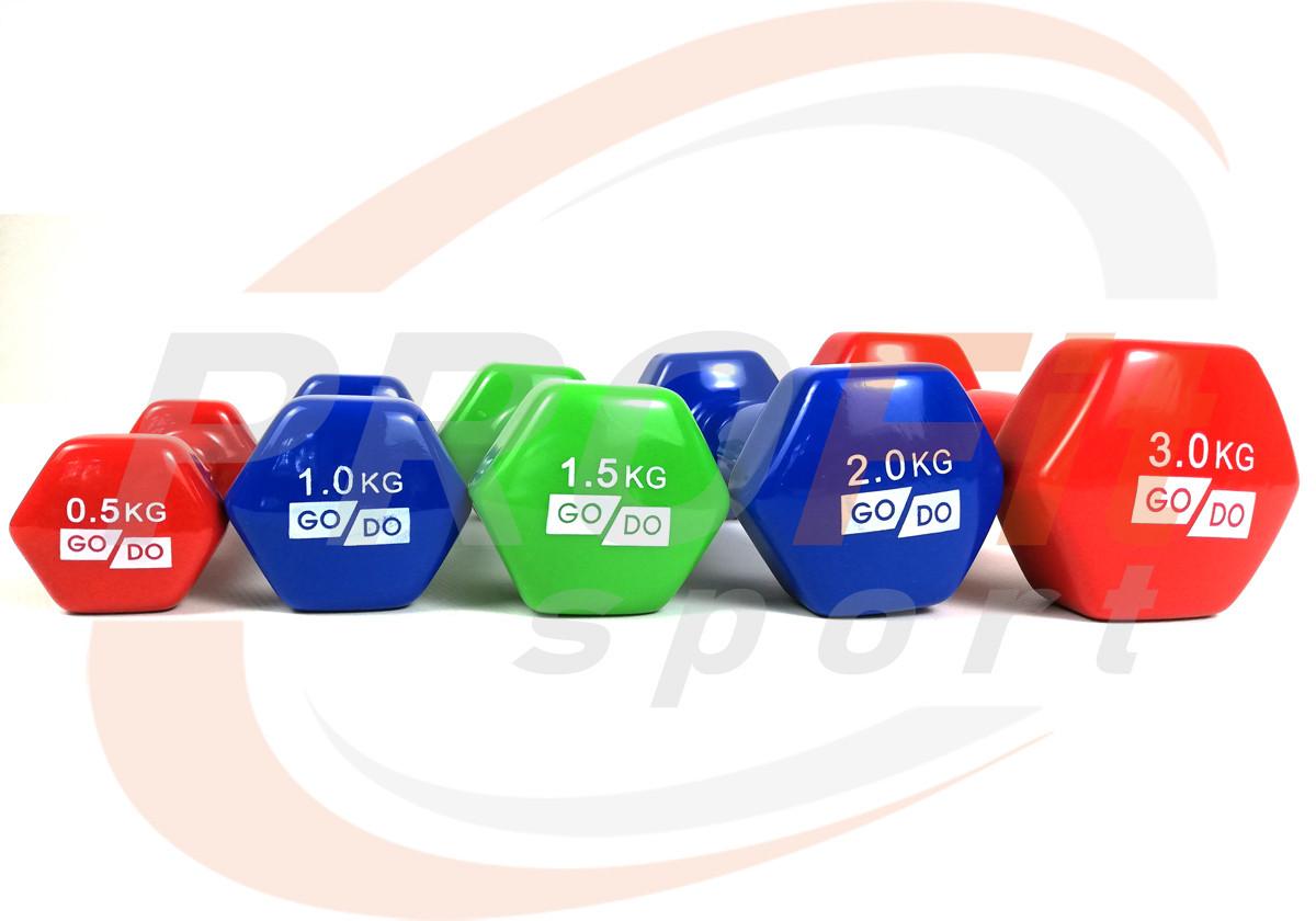 Виниловые гантели для фитнеса GoDo 0.5 кг - 3 кг (поштучно)