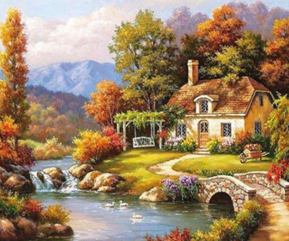"Картина по номерам EKTL0027_O 30*40см ""Лесной домик у реки"" OPP (холст на раме с краск.кисти)"