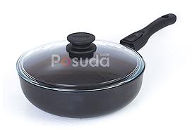 Сковорода со съемной ручкой Элегант и стеклянной крышкой Биол 26 см 26091ПC