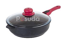 Сковорода Биол с крышкой и съемной ручкой 28 см Титанал 2806ПС