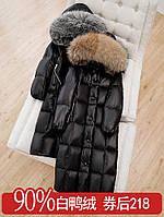 Пуховик выше колена женский 2020 новый черный блестящий большой меховой воротник толстая зимняя куртка средней длины антисезонная распродажа, фото 1