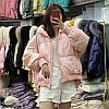 Пуховик женский, короткая яркая куртка с воротником-стойкой