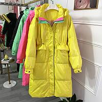 Модный радужный пуховик женский, женская куртка ярких цветов 4 цв, фото 1