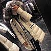 Модний пуховик з хутряним коміром, жіноче товсте пальто