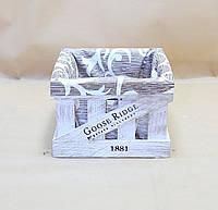 Ящики декоративные с чехлом КЯ-3  БЕЛО-КОРИЧНЕВЫЙ  (3 ящика, квадратные)