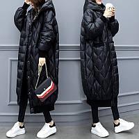 Супер длинный кокон пуховик большой размер, свободная черная куртка, фото 1