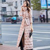 Розовый пуховик женский 2019 новый стиль корейская мода тонкий белый утиный пух теплый длинный участок от колена до щиколотки 279, фото 1
