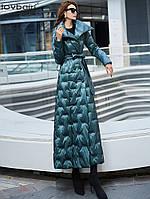 Блестящий пуховик зеленый женский 2019 новая мода тонкий длинный по щиколотку белый утиный пуховик 556, фото 1
