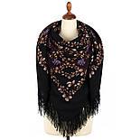 Рябина 352-19, павлопосадский платок шерстяной  с шерстяной бахромой, фото 3