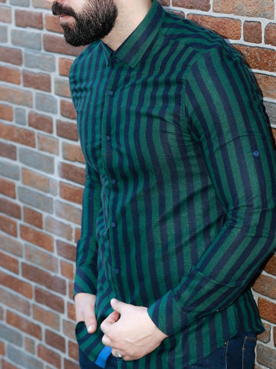 106-37-181 Рубашка с длинным рукавом из кашемира в полоску
