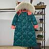 Пуховик женский средней длины, модный с большым меховым воротником 3 цвета
