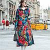 Пуховик женский яркий принт, в стиле ретро,свободное пальто большого размера 6 расцветок