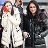 Зимний пуховик с меховым воротником и поясом, женское толстое пальто средней длины
