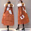Женский пуховик, зимняя ,модная толстая куртка с большим меховым воротником 2 цв