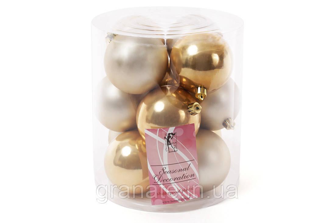 Набор елочных шаров 8см, цвет - светлое золото, 12шт: 6шт - матовый, 6шт - перламутр
