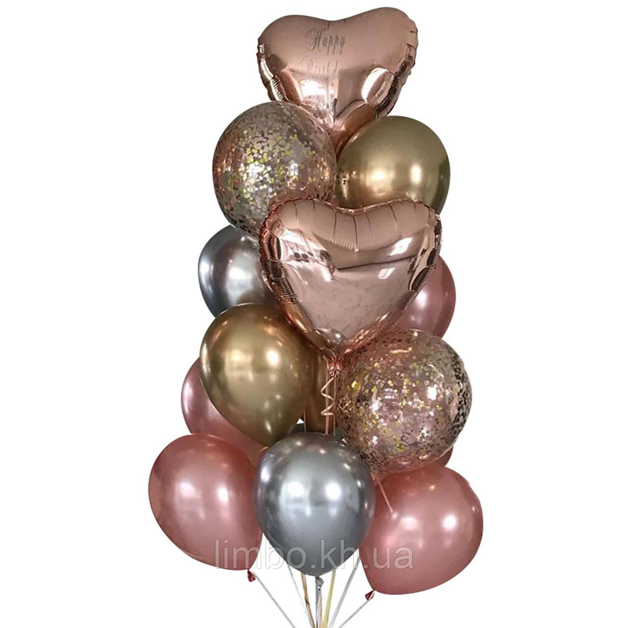 Шарики ко дню рождения в розовом цвете