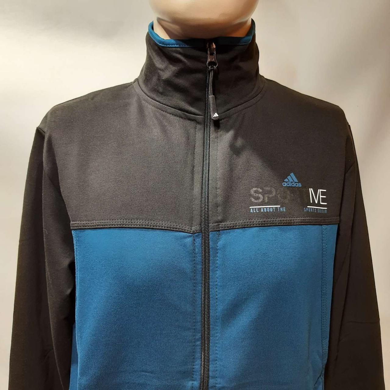 Мужская спортивная кофта на молнии трикотаж Турция M,L, 2XL Черно-синий