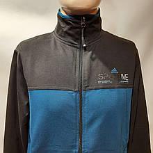 Чоловіча спортивна кофта на блискавці трикотаж Туреччина M,L, 2XL Чорно-синій