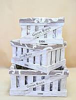Ящики декоративные с чехлом КЯ-4 БЕЛО-КОРИЧНЕВЫЙ  (3 ящика, прямоугольные)