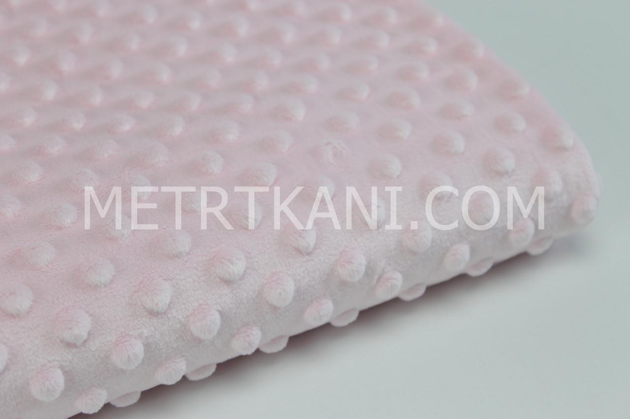 Лоскуток. Плюш для пледов Минки  бледно-розового цвета 30*160 см