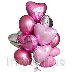 Фольгированные шары сердца и и розовые шары хром