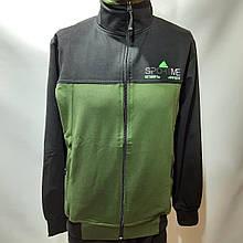 Чоловіча спортивна кофта на блискавці трикотаж Туреччина M L XL 2XL Чорно-зелена