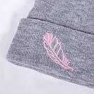 Красива тепла шапка з пір'їнкою тепла шапка, фото 2