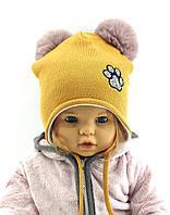 Оптом шапка детская с 48 по 52 размер хомутом ангора помпонами шапки головные уборы детские опт, фото 1