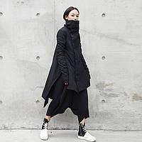 SIMPLE BLACK темная стеганая куртка с воротником-стойкой неправильной длины средней длины, утепленная куртка, зимняя утепленная куртка для женщин, фото 1