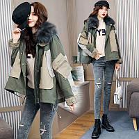 Зимова коротка вільна стьобана куртка жіноча з кишенями і хутром 2 кол