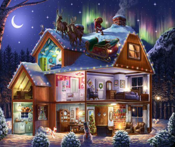 """Картина по номерам EKTL2194_O 30*40см """"Рождественский домик"""" OPP (холст на раме с краск.кисти)"""
