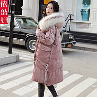Модная повседневная золотая бархатная стеганая куртка женская зимняя одежда 2019 года новая корейская версия стеганого пальто средней длины с большим, фото 1