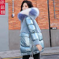 Глянцевая хлопковая куртка, женская модная куртка средней длины, корейская версия, зима 2020, новое свободное хлопковое пальто с отстрочкой из шерсти, фото 1