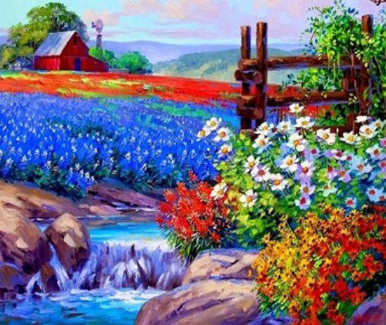 "Картина по номерам EKTL2178_O 30*40см ""Цветочные поля"" OPP (холст на раме с краск.кисти)"