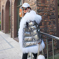 Серебряная блестящая белая куртка на утином пуху со звездами в том же стиле, женская зимняя свободная толстая куртка с большим меховым воротником, фото 1