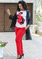 Женский нарядный брючный костюм-тройка с шифоновым кардиганом больших размеров