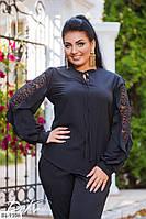 Блузка женская с красивым гипюровым рукавом, фото 1