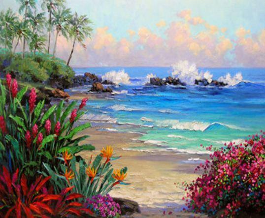 """EKTL2080_O Раскраска по номер. 30*40см """"Берег океана"""" OPP (холст на раме с краск.кисти), фото 2"""
