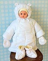 Зимний комбинезон трансформер 3 в 1 белого цвета для новорожденных, фото 1