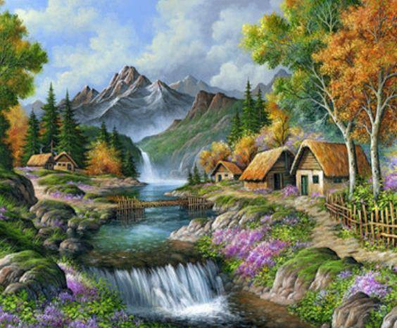 """Картина по номерам EKTL1885_O 30*40см """"Деревня в горах"""" OPP (холст на раме с краск.кисти), фото 2"""