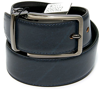 Ремінь чоловічий шкіряний/ремень мужской/ на пояс двосторонній у 2-х моделях і 2-х кольорах. Синьо-чорний.