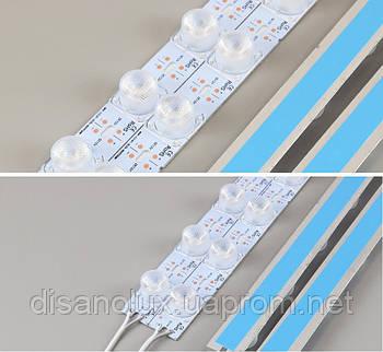 Светодиодная LED линейкаSL-CW3030-JL2 SMD 3030 18LED/m с линзой 15° IP20 6000К холодный белый 1m