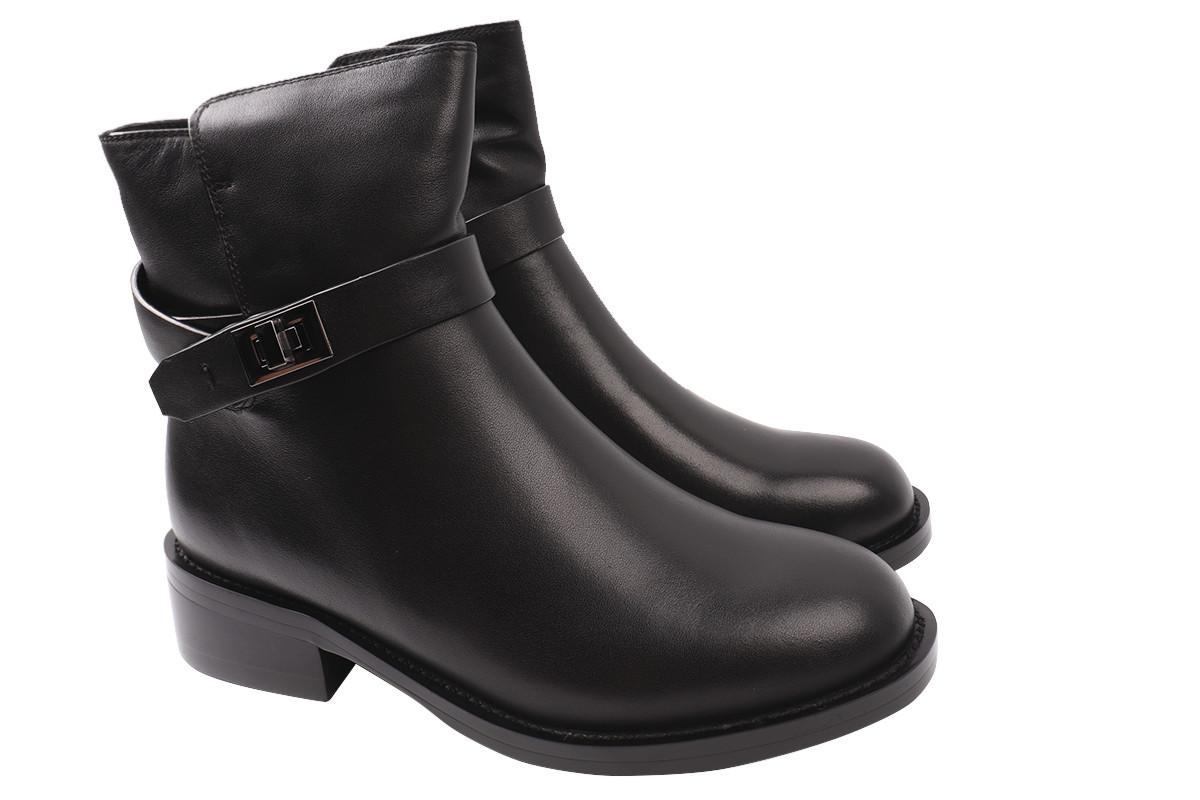 Ботинки женские зимние на низком каблуке из натуральной кожи, черные Brocoly