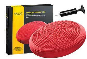 Балансировочная подушка (сенсомоторная) массажная 4FIZJO MED+ 4FJ0052 Red для дома и спортзала красного цвета