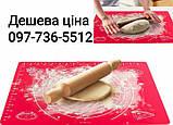 Силиконовый коврик для раскатки и выпечки теста 60-42 см Красный, фото 2